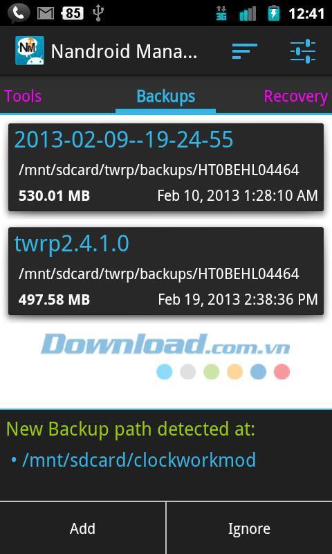 Nandroid Manager für Android 1.3.3 - Verwalten Sie Nandroid-Backups