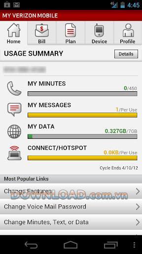 My Verizon forAndroid-Androidでアカウントを制御する