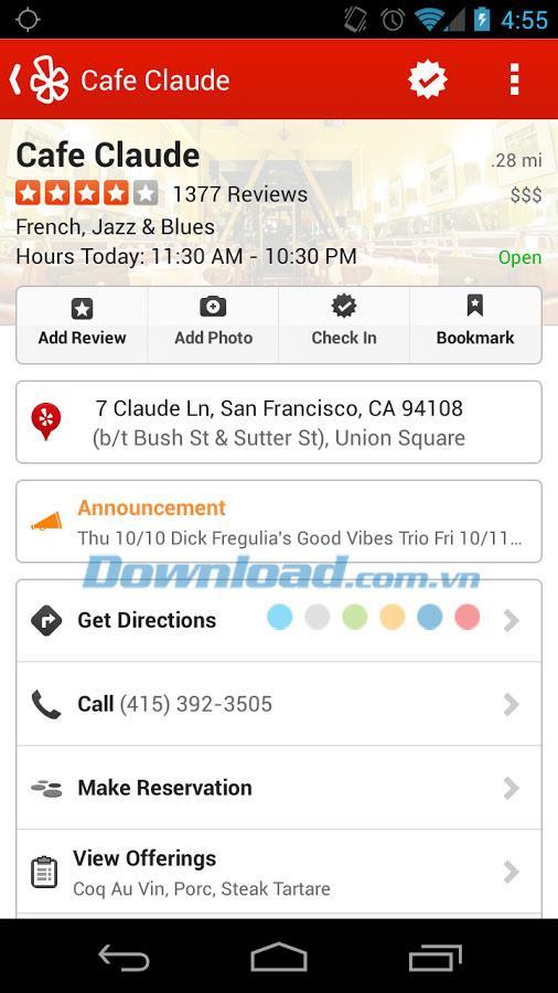 Android用Yelp-Androidで場所を検索