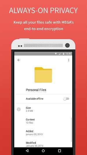 Mega forAndroid-Android上のオンラインデータストレージ