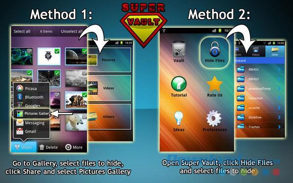 Super Vault für Android 1.3.0 - Super sicherer Datenspeicher für Android