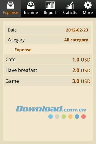 Android1.0の経費日記-財務管理アプリケーション