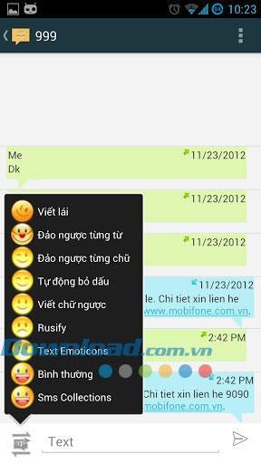 Android1.0.1用のベトナム語SMS-メッセージの管理