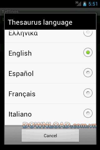 Android用オンラインシソーラス-Android用オンライン同義語辞書