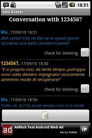 Android用SMS消しゴム-電話メッセージを削除する