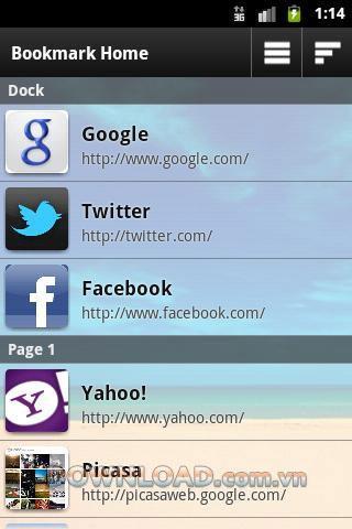 Android用ブックマークホーム-ブックマークを管理する