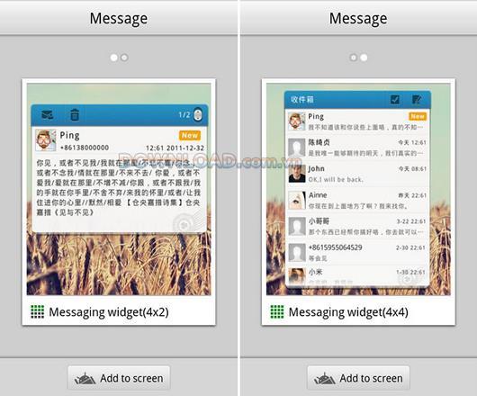 Android用のGOメッセージウィジェット-携帯電話のホーム画面に直接メッセージを表示する