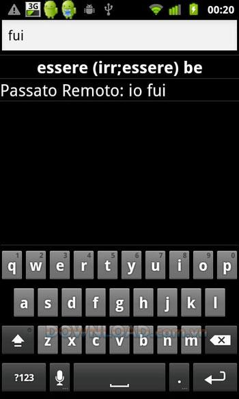 Italienische Verben für Android - Übersetzte italienische Verben