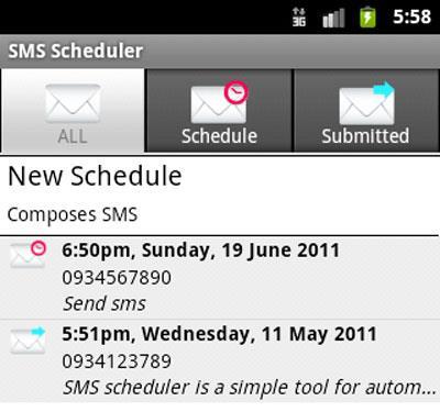 Android用SMSスケジューラ
