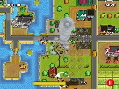 Tornado Mania für iOS 1.0.21 - Spielsteuerung eines Tornados, um Menschen zu retten