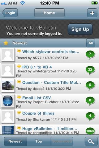 vBulletin Mobile für iPhone