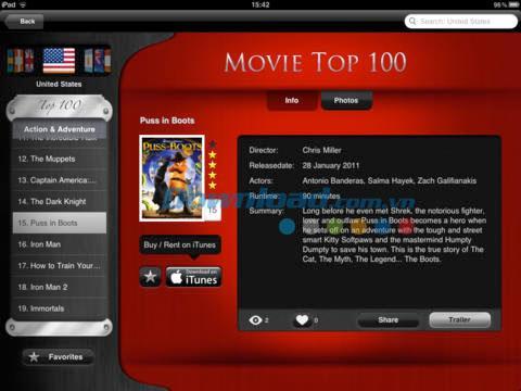 Movie Top 100 pour iPad 1.0 - Top collection de films sur iPad