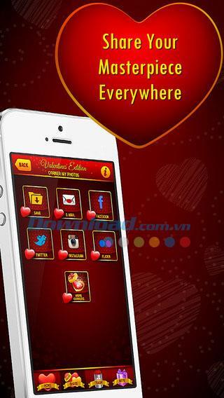 Ecke Meine Fotos - Valentines Edition für iOS 2.0 - Entwerfen Sie Valentine-Fotos auf iPhone / iPad