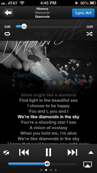 TuneWiki Lyrics pour iOS 4.3.1 - Lecteur de musique avec paroles sur iPhone / iPad