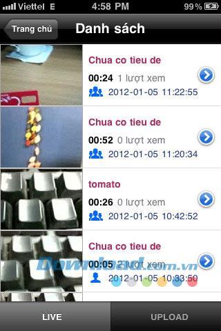 iLive pour iOS 2.1.1 - Enregistrez et partagez des vidéos en direct