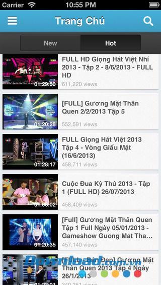 iOS1.0のテレビ番組-ベトナムのリアリティテレビを見る