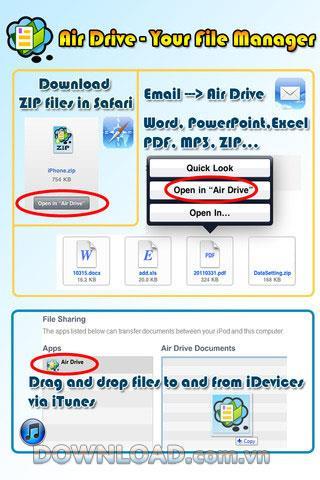 Air Drive - Votre gestionnaire de fichiers pour iOS - Un outil de gestion de fichiers efficace pour iOS