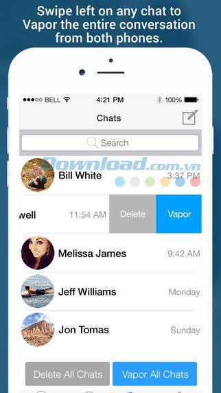 VaporChat pour iOS 1.7 - Application de chat sécurisé sur iPhone