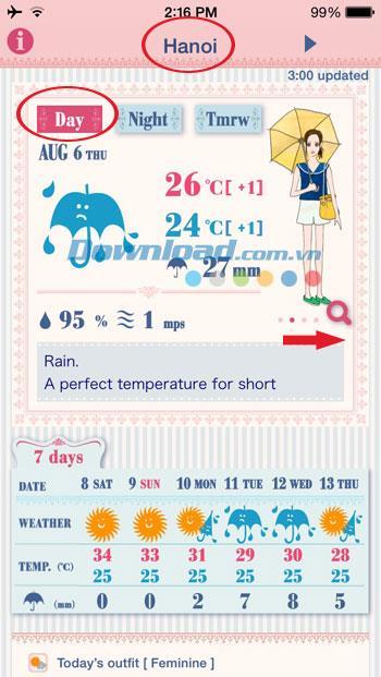 Oshare Weather für iOS 4.3.0 - Wettervorhersageanwendung für Mädchen