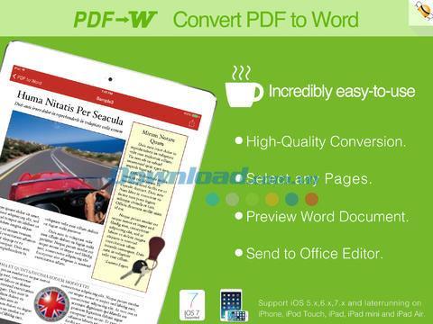 PDF to Word pour iOS 6.3.1 - Convertir un PDF en Word sur iPhone / iPad