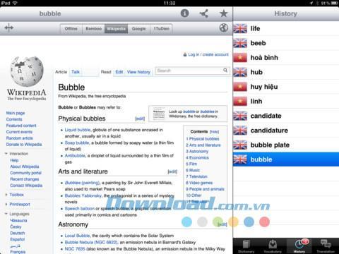 English Vietnamse Dictionary HD Free for iPad 2.0 - Recherchez le dictionnaire gratuitement