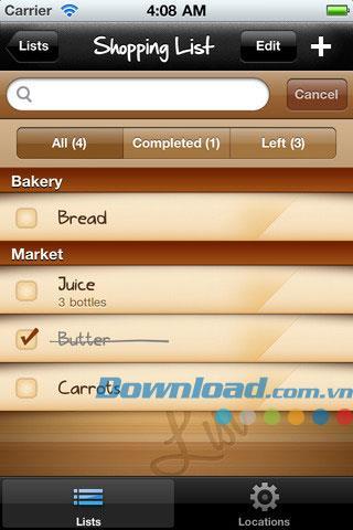 iOS1.1の買い物リスト-iPhone / iPadの買い物リストを管理する