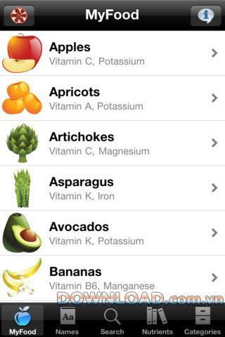 MyFood pour iOS - Ingrédients nutritionnels dans les aliments