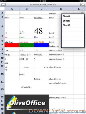 iPad用OliveXLSHD-iPad用Excelファイルの読み取りをサポートするソフトウェア