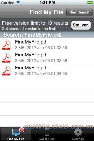 FindMyFile Free für iOS - Dateisuchsoftware für iOS
