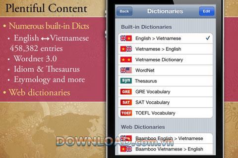 iOS用英語ベトナム語英語辞書-英語-ベトナム語-iPhone用英語辞書アプリケーション