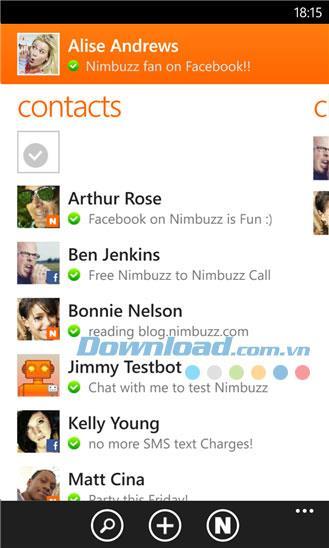Nimbuzz for Windows 8 Mobile2.2.0.0-WindowsPhone用のクロスプラットフォームメッセージングアプリケーション