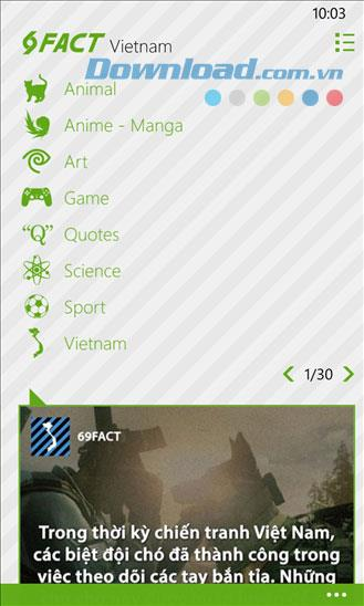 69fact for Windows Phone1.1.0.0-エンターテインメントのハイライトの要約