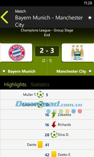 Live Football für Windows Phone 1.1.0.0 - Aktualisieren Sie die Fußballergebnisse auf Windows Phone