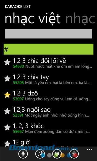 Karaoke-Liste für Windows Phone 1.0.3.1 - Karaoke-Song-Suchanwendung