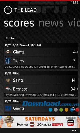 ESPN ScoreCenter pour Windows Phone 3.0.0.0 - Informations sur les tournois pour Windows Phone