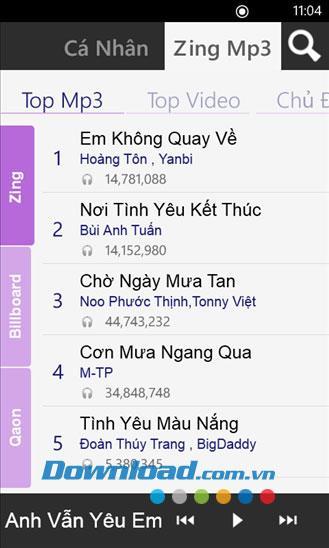 Zing MP3 für Windows Phone - Hören Sie MP3 Zing-Musik und laden Sie MP3-Musik herunter