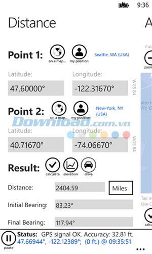 GPS Calculator PRO pour Windows Phone 7.5.0.0 - Application de navigation cartographique sur Windows Phone