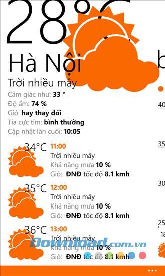Vieather für Windows Phone 2.2.1.0 - Software-Wettervorhersage