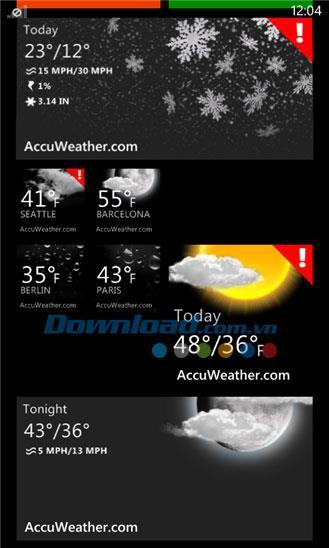 AccuWeather for Windows Phone 2.3.2.0-WindowsPhoneの天気情報