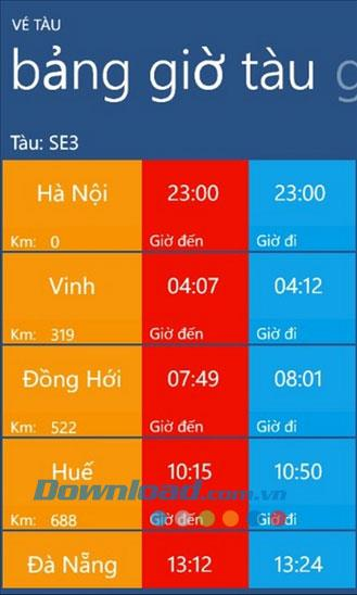 Bahntickets für Windows Phone 1.0 - Informationen zu Thong Nhat-Bahntickets finden Sie hier