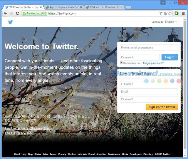 Twitter Web - Berühmtes soziales Netzwerk