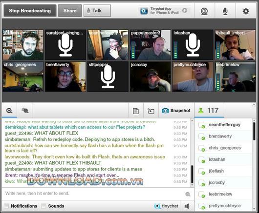 Tinychat - Kostenloser Gruppenvideo-Chat auf Facebook