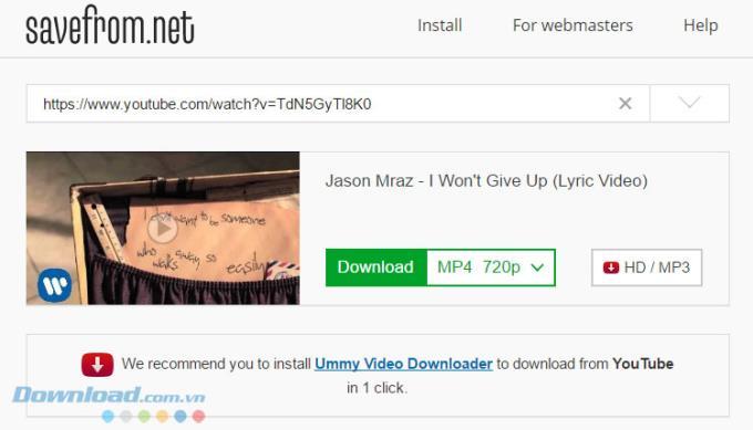 SaveFrom-700以上のオンラインビデオ共有Webサイトからビデオをダウンロードする