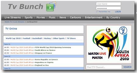 TV Bunch - schauen Sie sich World Cup Football 2010 kostenlos online an
