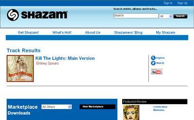Shazam - Web reconnaît le nom de la chanson