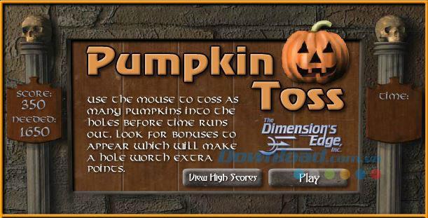 Pumpkin Toss - Spiel, um Kürbisse durch das Loch zu werfen
