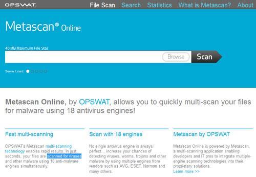 Metascan Online - Überprüfen Sie die Sicherheit Ihrer Daten