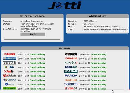 Jotti - Sicherer Virenscan mit 21 Online-Computern gleichzeitig