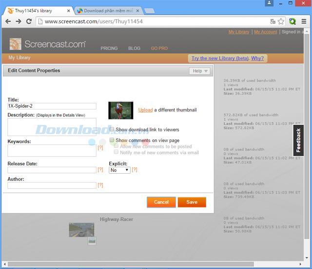 Screencast - Service de partage et de stockage en ligne