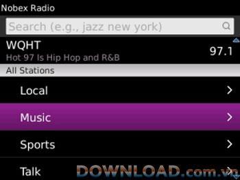 Nobex Radio für BlackBerry - Anwendung, die Radio auf BlackBerry hört